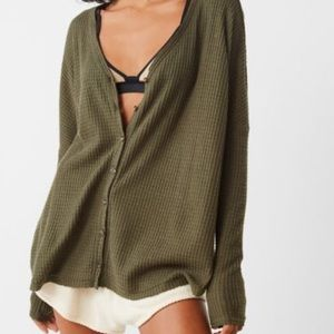 Urban Outfitters Tops - Oversized thermal button-down top